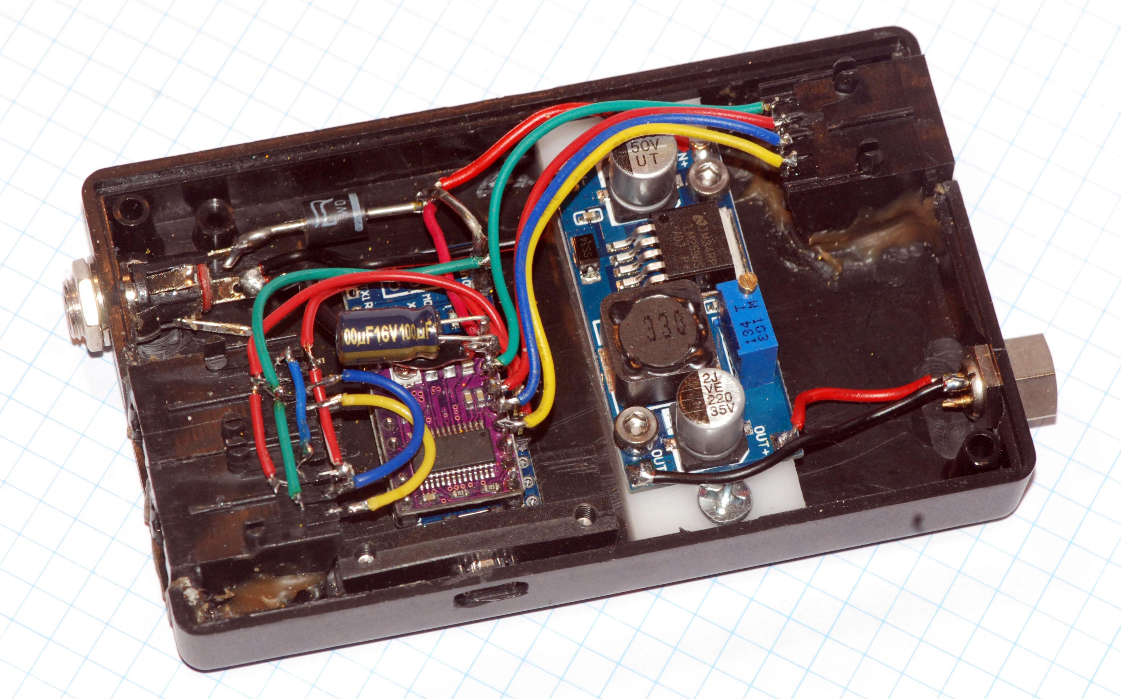 Box mit Arduino Nano, step down Wandler une ST-4 ports